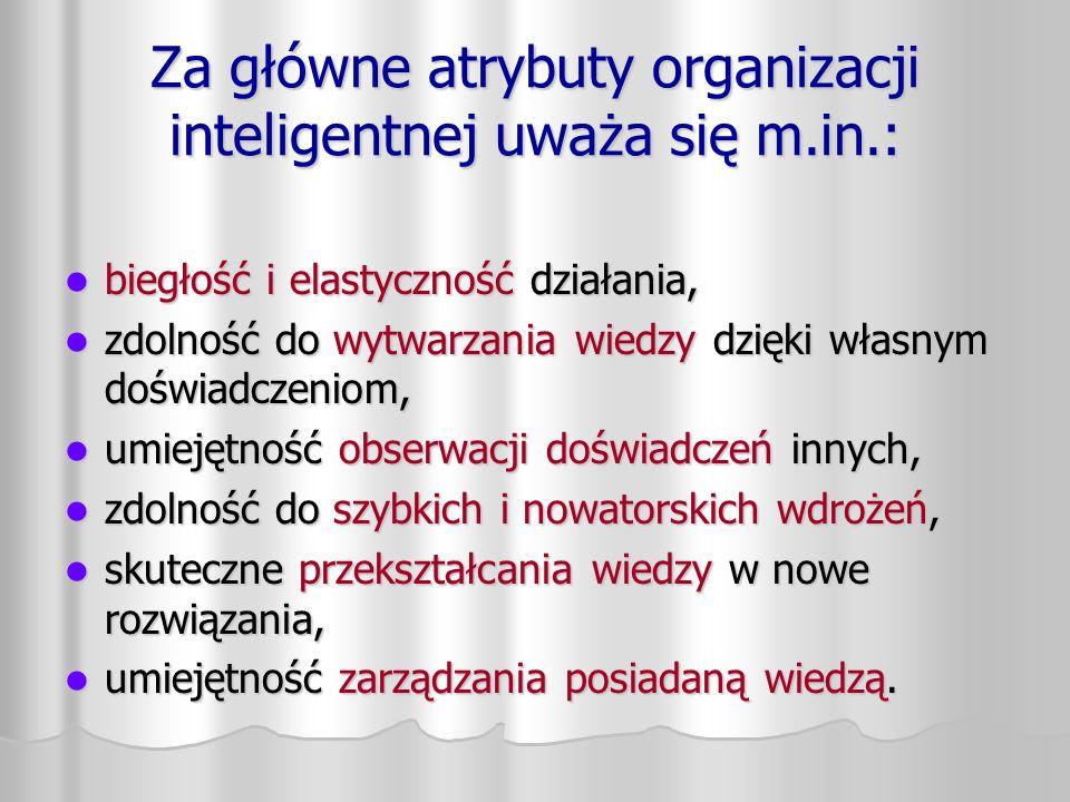 Za główne atrybuty organizacji inteligentnej uważa się m.in.: