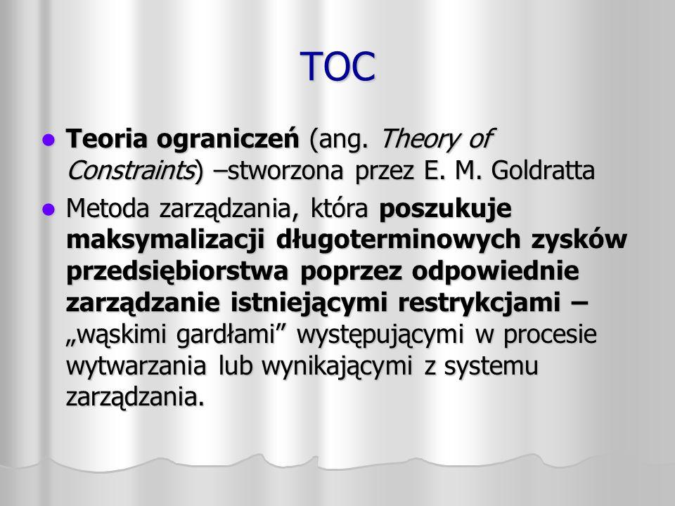 TOC Teoria ograniczeń (ang. Theory of Constraints) –stworzona przez E. M. Goldratta.