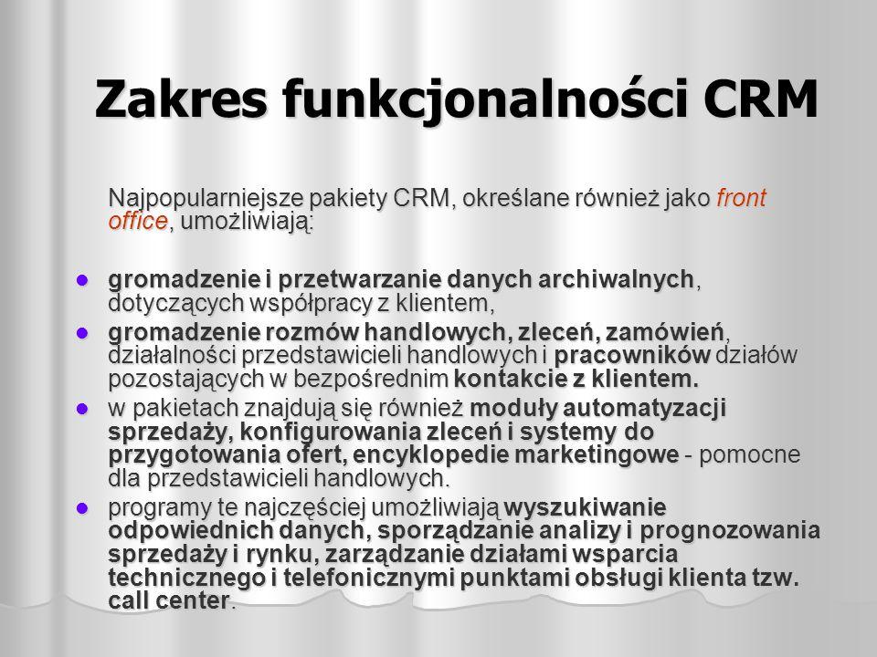 Zakres funkcjonalności CRM