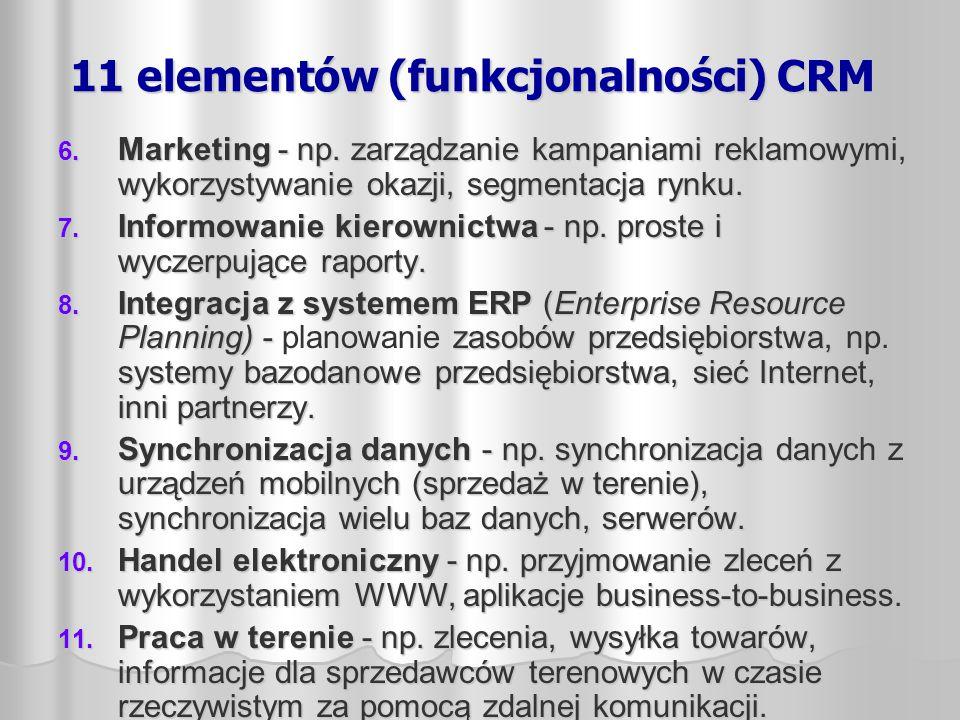 11 elementów (funkcjonalności) CRM