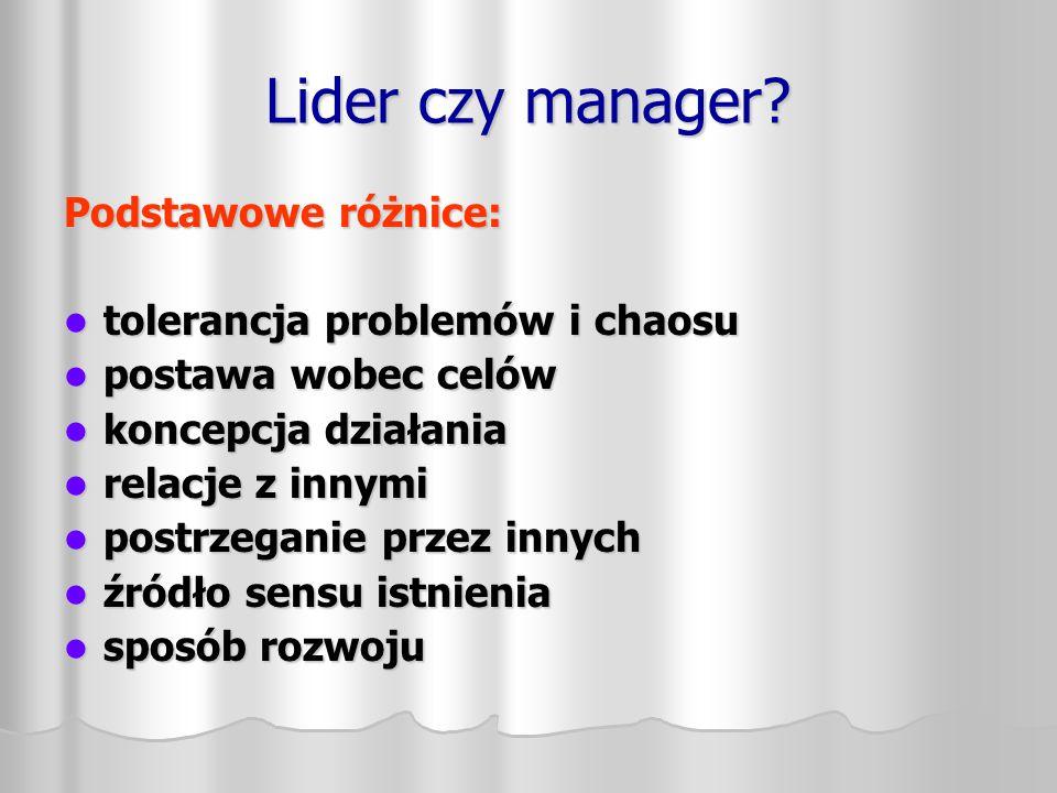 Lider czy manager Podstawowe różnice: tolerancja problemów i chaosu
