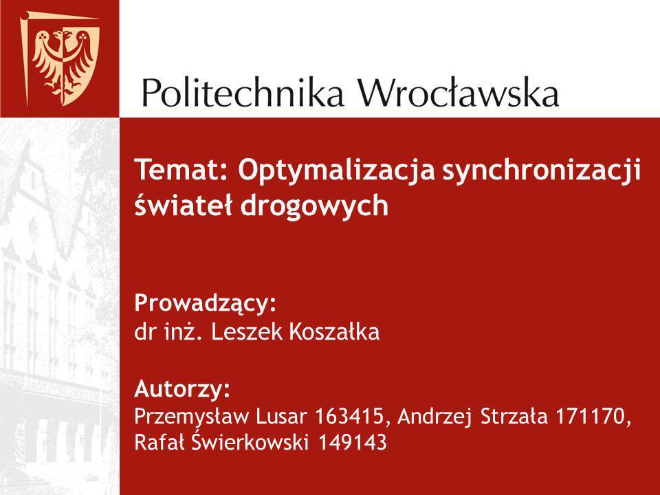 Temat: Optymalizacja synchronizacji świateł drogowych