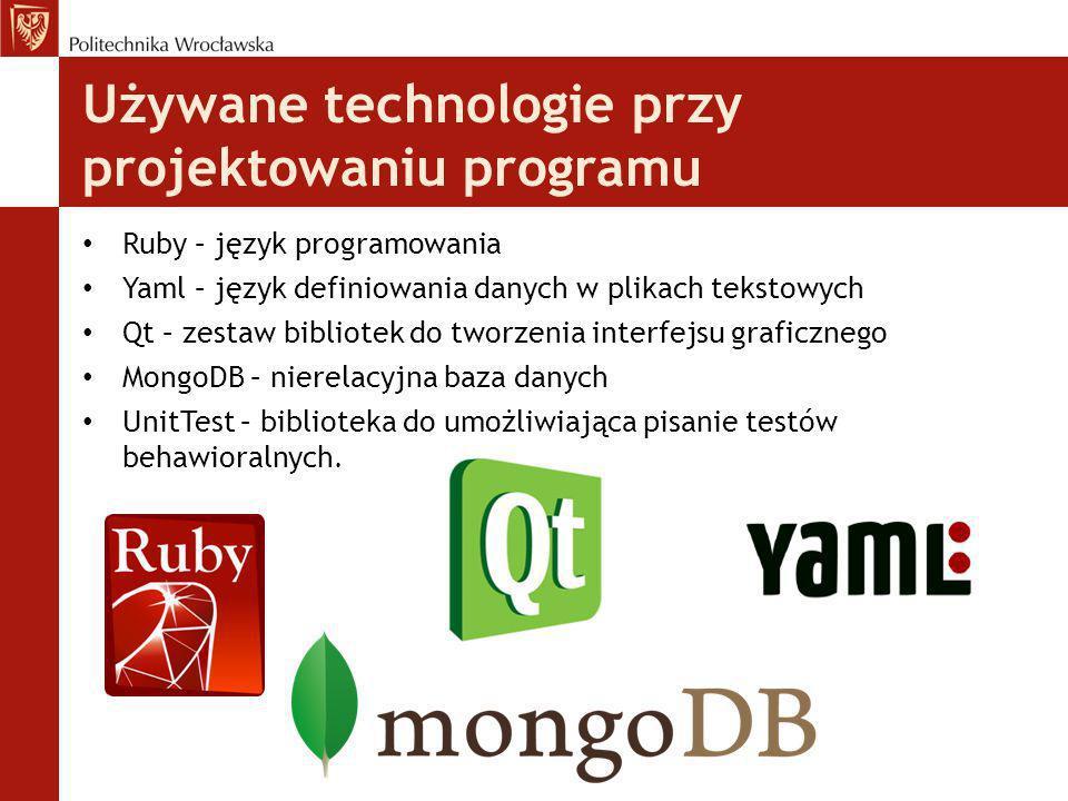 Używane technologie przy projektowaniu programu