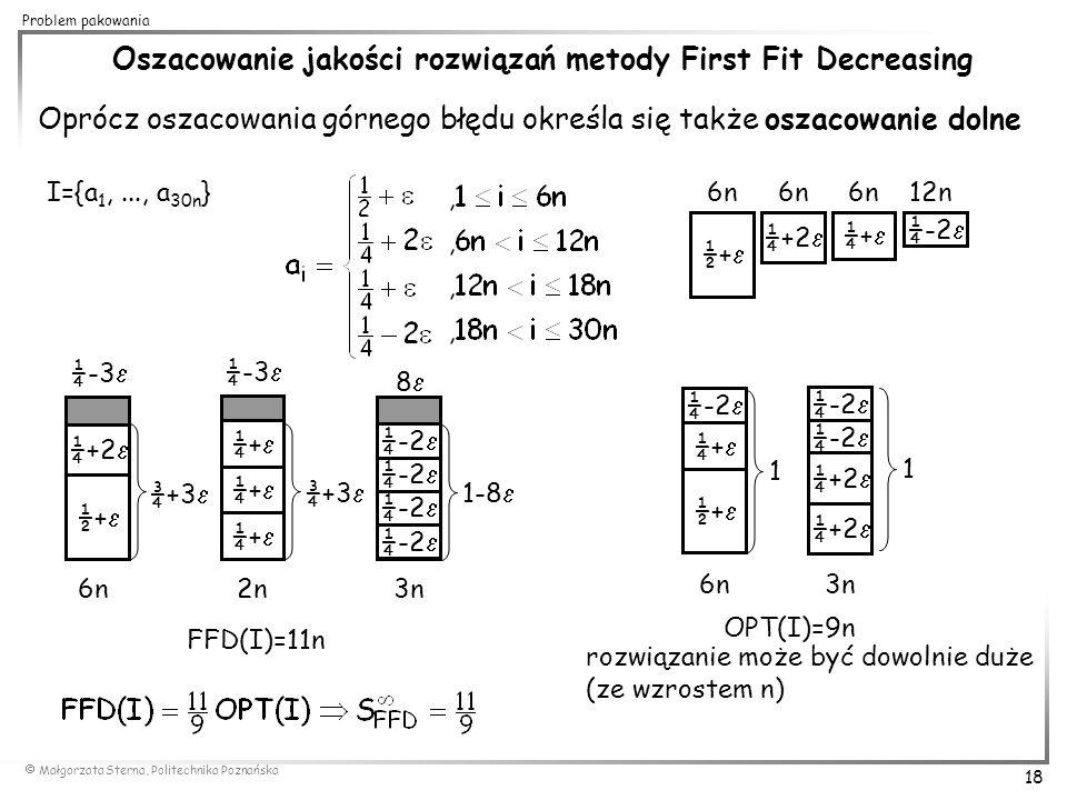 Oszacowanie jakości rozwiązań metody First Fit Decreasing