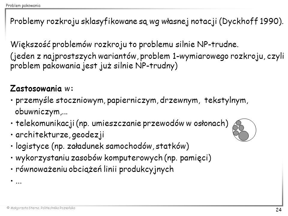 Problemy rozkroju sklasyfikowane są wg własnej notacji (Dyckhoff 1990).