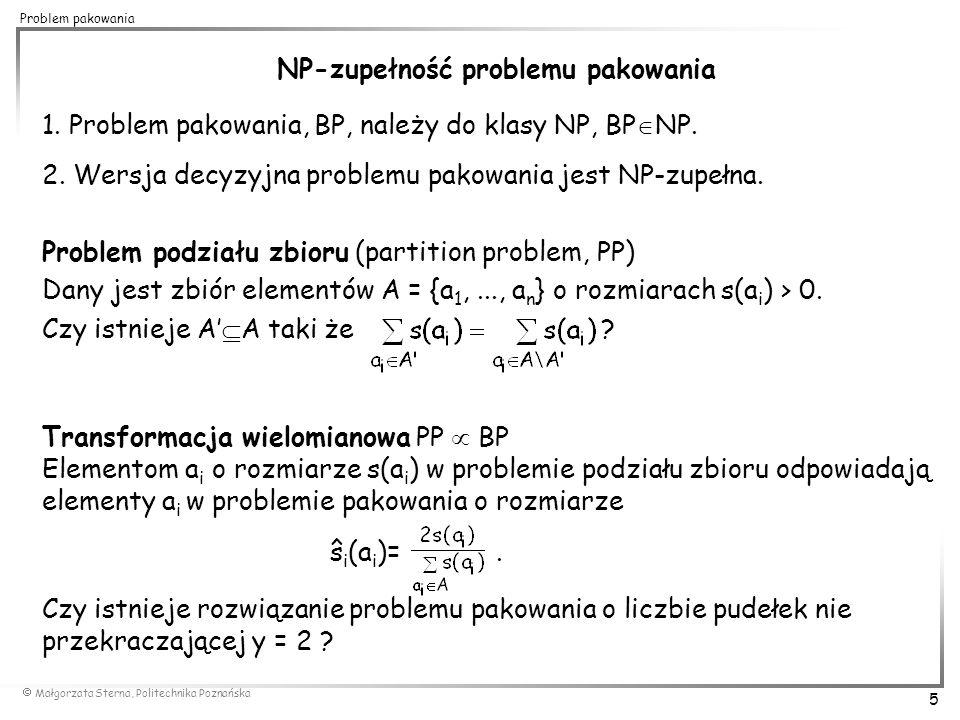 NP-zupełność problemu pakowania