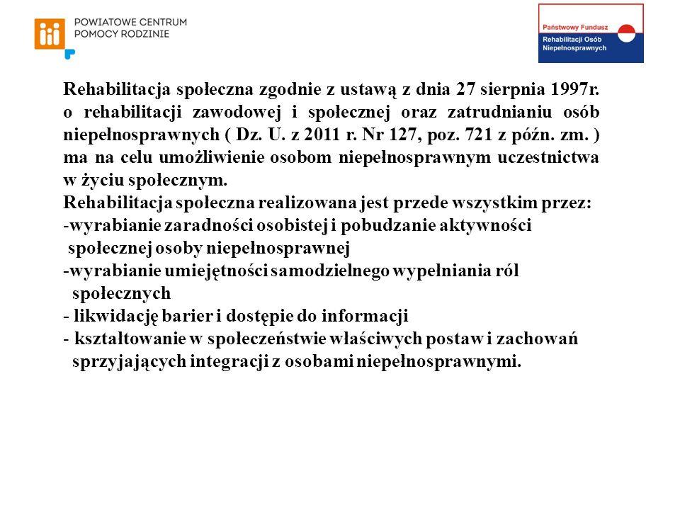 Rehabilitacja społeczna zgodnie z ustawą z dnia 27 sierpnia 1997r