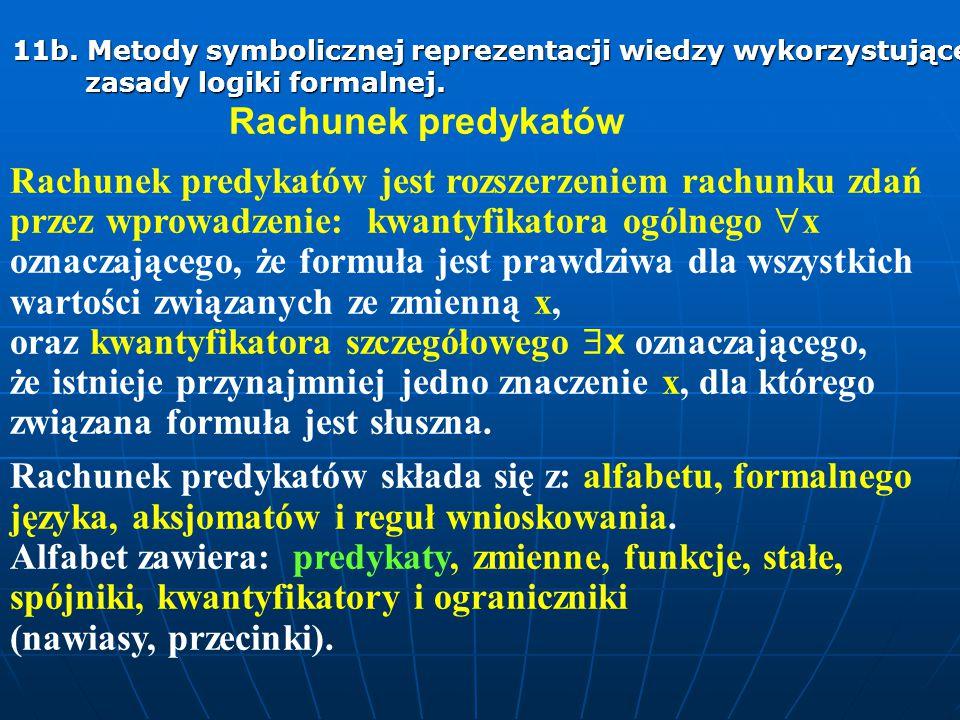 11b. Metody symbolicznej reprezentacji wiedzy wykorzystujące zasady logiki formalnej. Rachunek predykatów