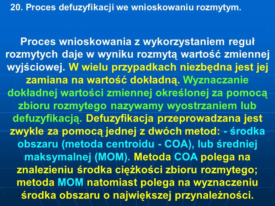 20. Proces defuzyfikacji we wnioskowaniu rozmytym.