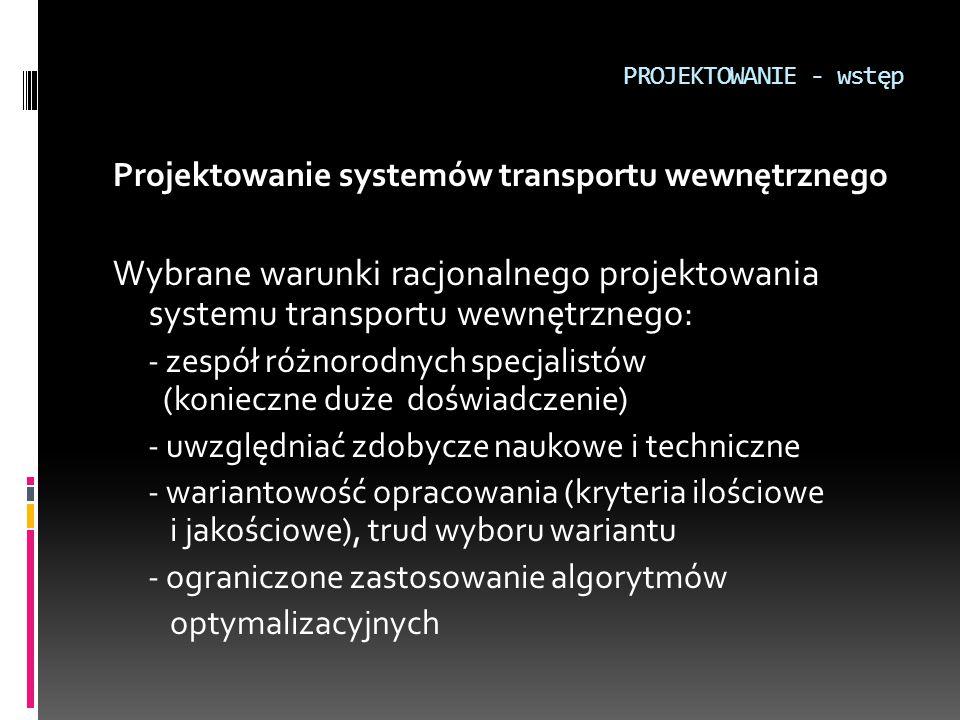PROJEKTOWANIE - wstęp Projektowanie systemów transportu wewnętrznego. Wybrane warunki racjonalnego projektowania systemu transportu wewnętrznego: