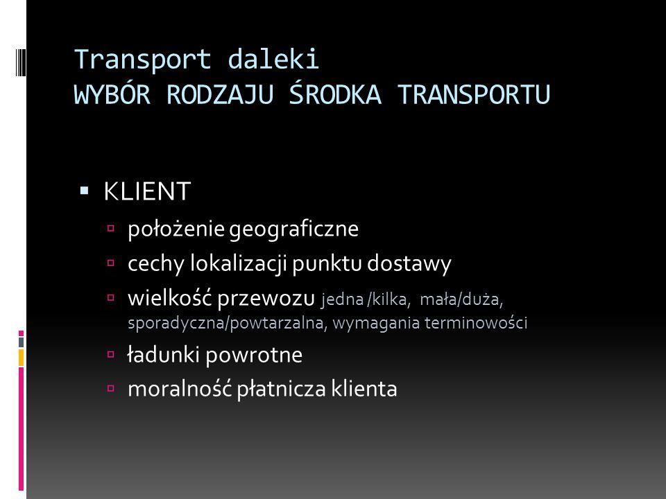 Transport daleki WYBÓR RODZAJU ŚRODKA TRANSPORTU