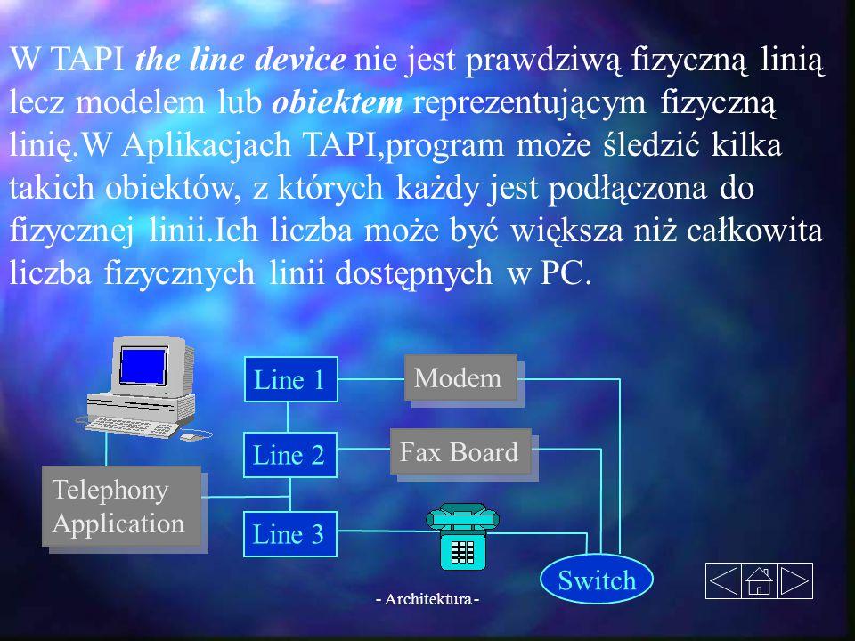 W TAPI the line device nie jest prawdziwą fizyczną linią lecz modelem lub obiektem reprezentującym fizyczną linię.W Aplikacjach TAPI,program może śledzić kilka takich obiektów, z których każdy jest podłączona do fizycznej linii.Ich liczba może być większa niż całkowita liczba fizycznych linii dostępnych w PC.