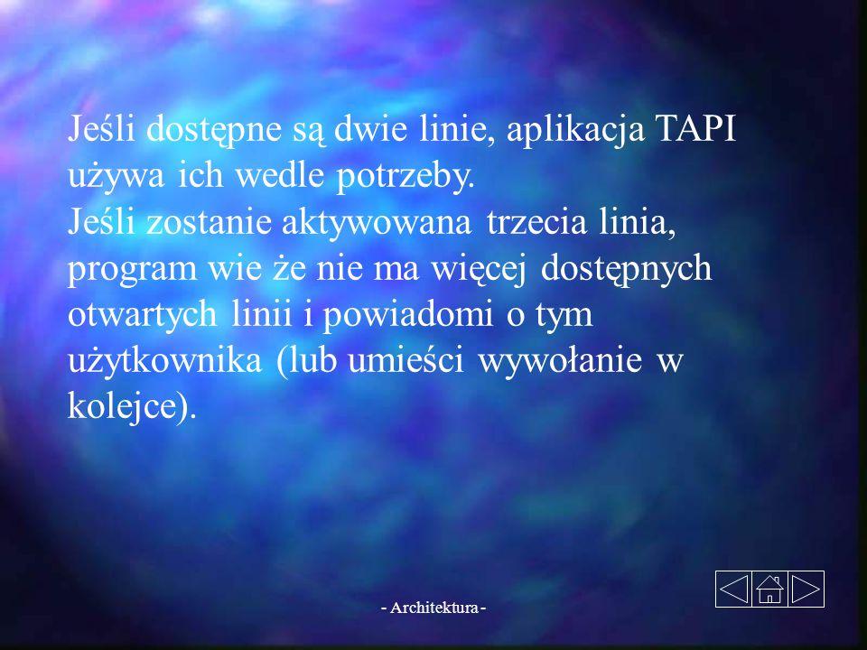 Jeśli dostępne są dwie linie, aplikacja TAPI używa ich wedle potrzeby.