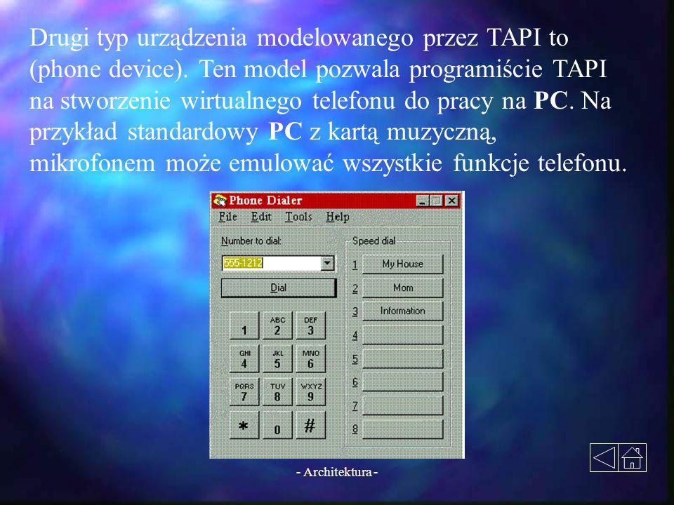 Drugi typ urządzenia modelowanego przez TAPI to (phone device)