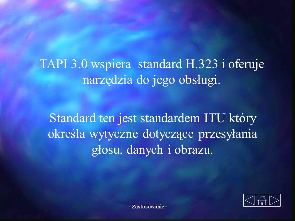 TAPI 3.0 wspiera standard H.323 i oferuje narzędzia do jego obsługi.
