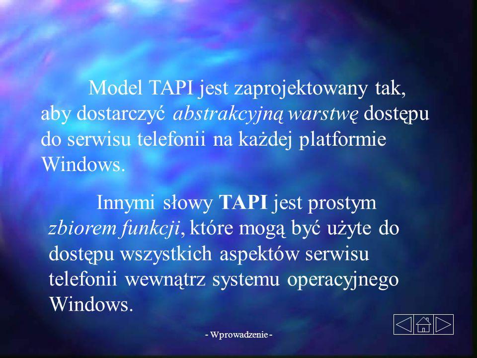 Model TAPI jest zaprojektowany tak, aby dostarczyć abstrakcyjną warstwę dostępu do serwisu telefonii na każdej platformie Windows.