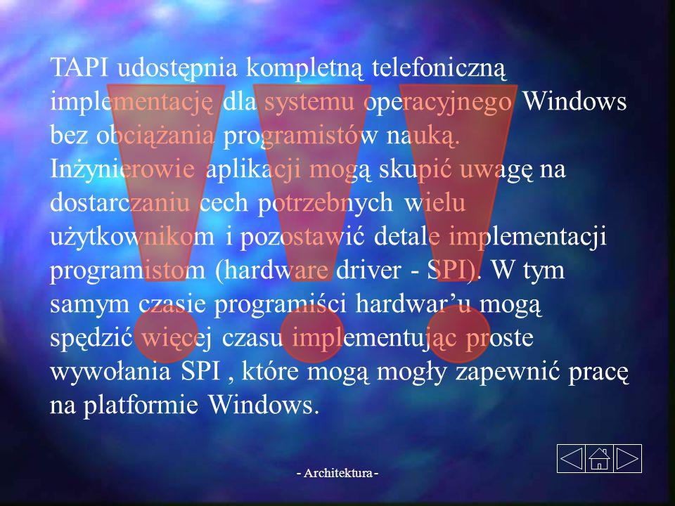 TAPI udostępnia kompletną telefoniczną implementację dla systemu operacyjnego Windows bez obciążania programistów nauką.
