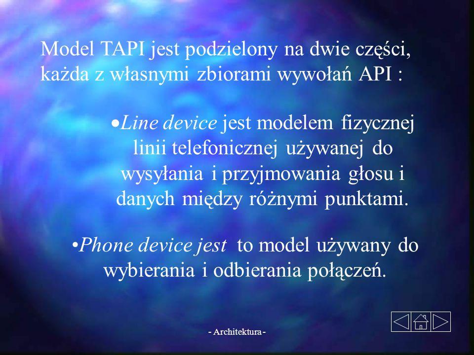 Model TAPI jest podzielony na dwie części, każda z własnymi zbiorami wywołań API :