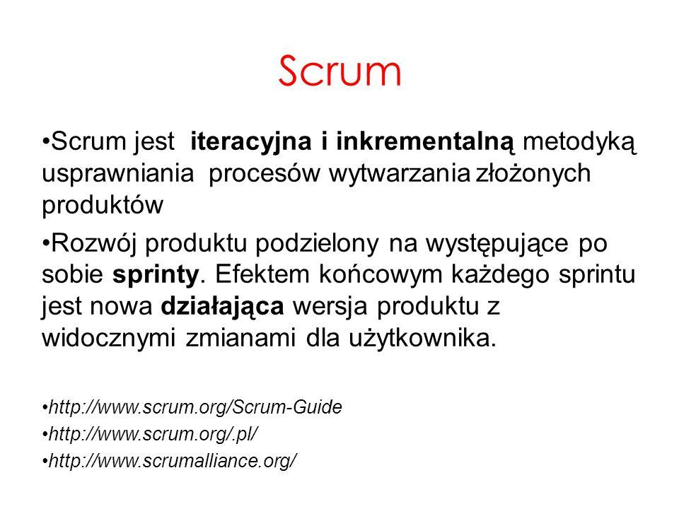 Scrum Scrum jest iteracyjna i inkrementalną metodyką usprawniania procesów wytwarzania złożonych produktów.