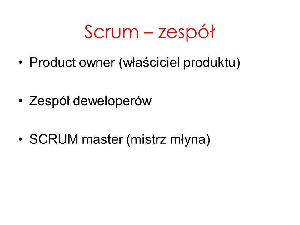 Scrum – zespół Product owner (właściciel produktu) Zespół deweloperów