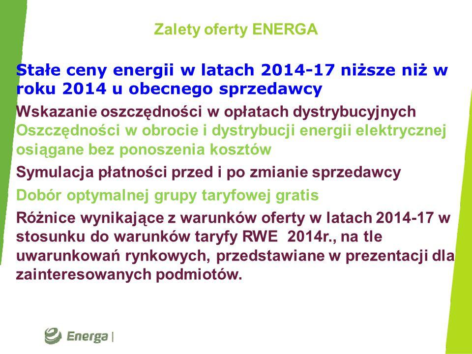 Zalety oferty ENERGA Stałe ceny energii w latach 2014-17 niższe niż w roku 2014 u obecnego sprzedawcy.