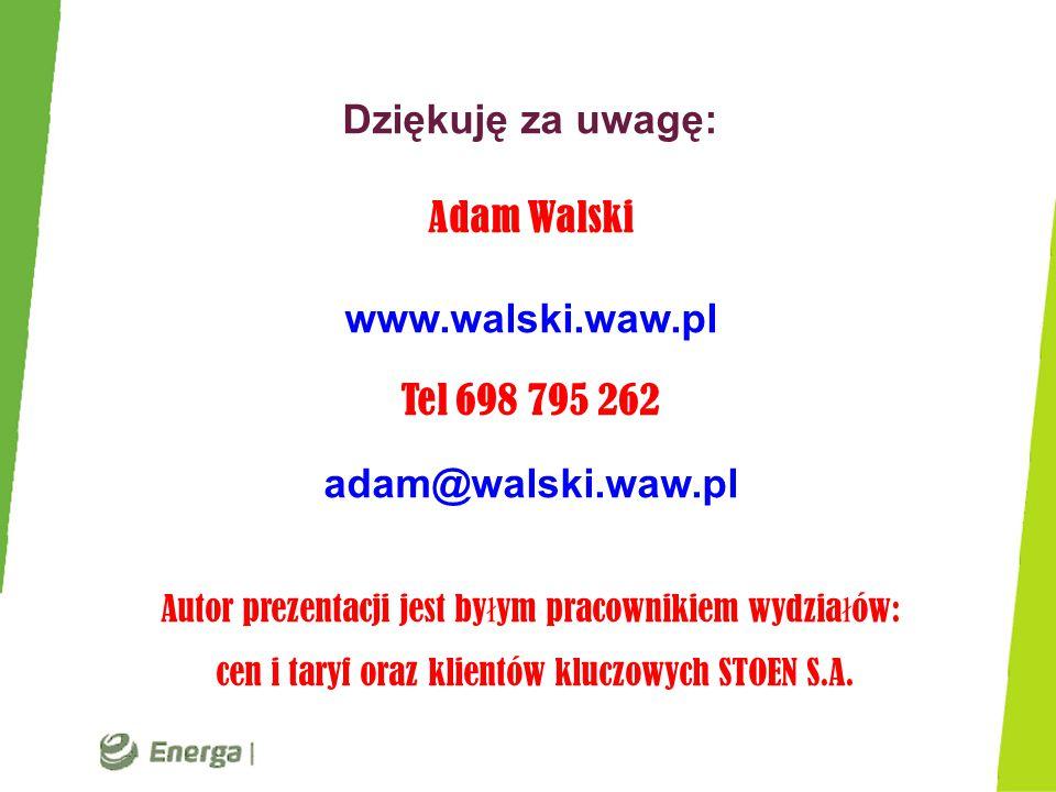 Dziękuję za uwagę: Adam Walski www.walski.waw.pl Tel 698 795 262