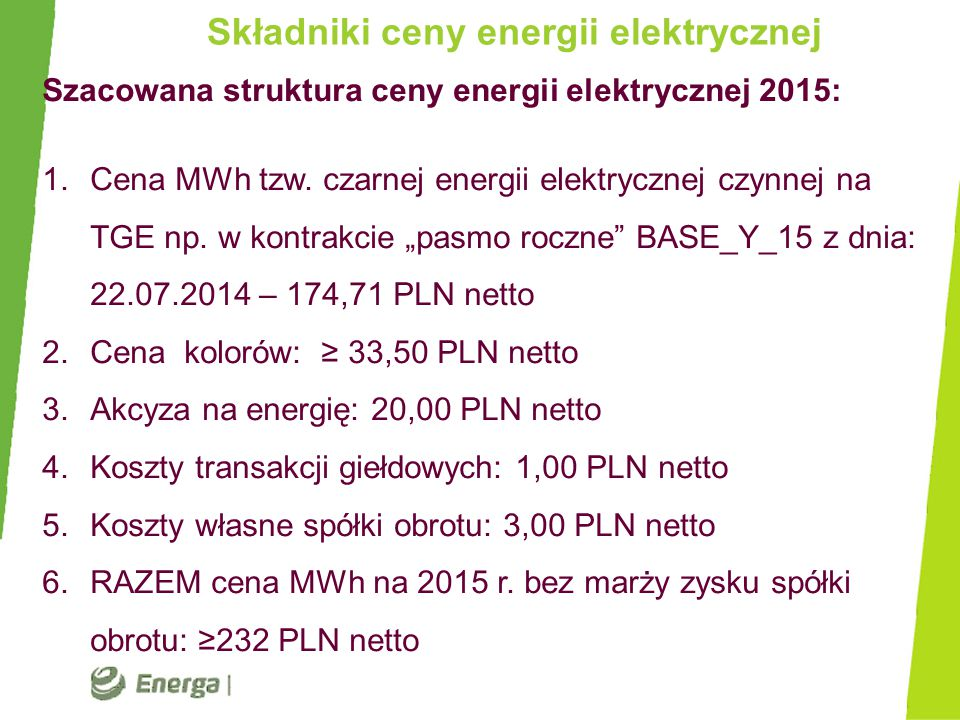 Składniki ceny energii elektrycznej