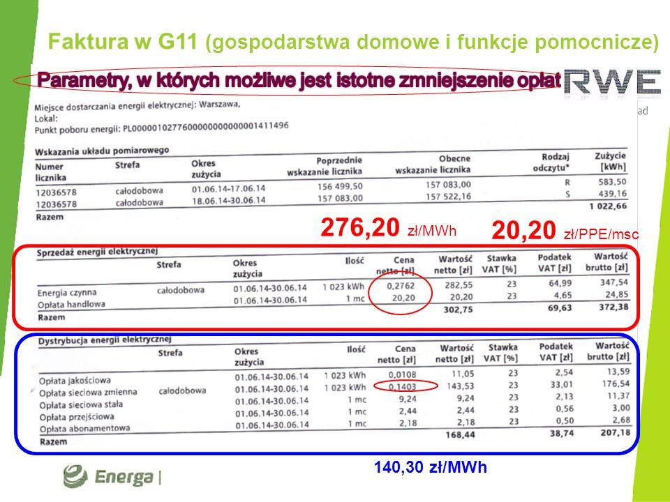 Faktura w G11 (gospodarstwa domowe i funkcje pomocnicze)