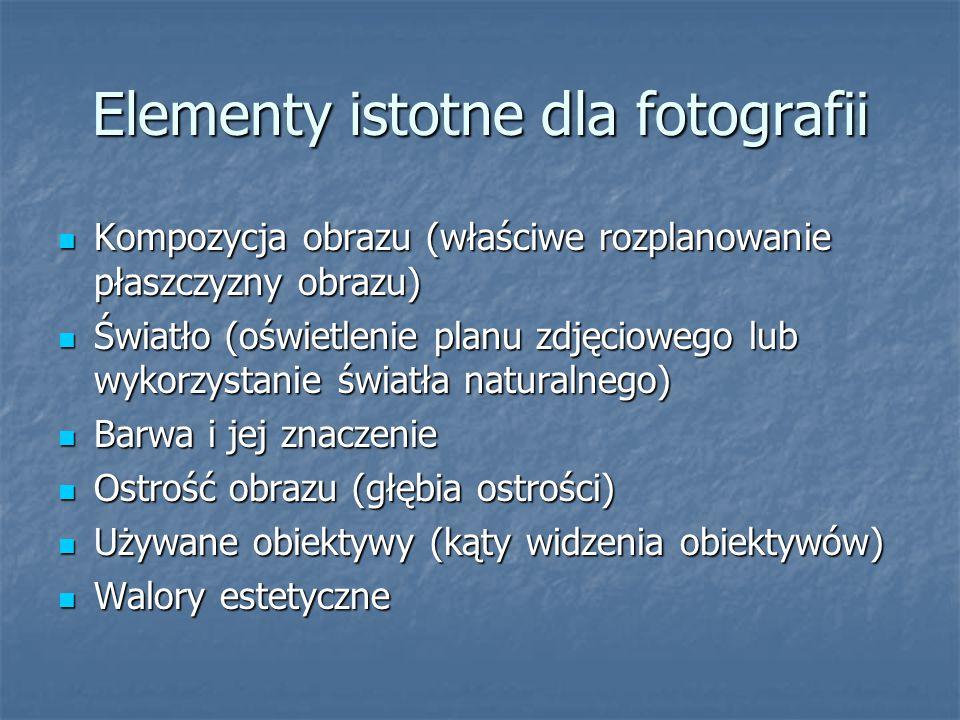Elementy istotne dla fotografii