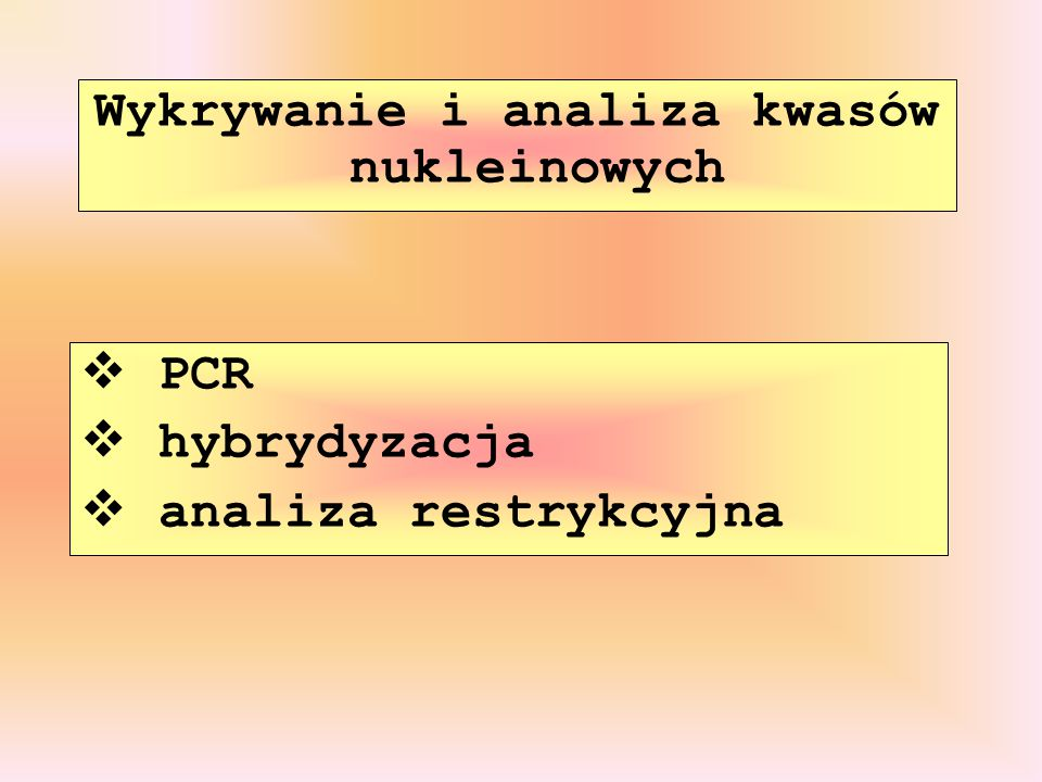 Wykrywanie i analiza kwasów nukleinowych