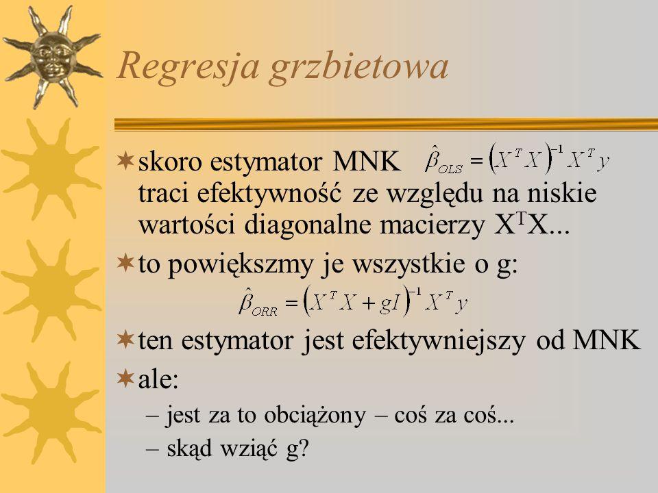 Regresja grzbietowa skoro estymator MNK traci efektywność ze względu na niskie wartości diagonalne macierzy XTX...
