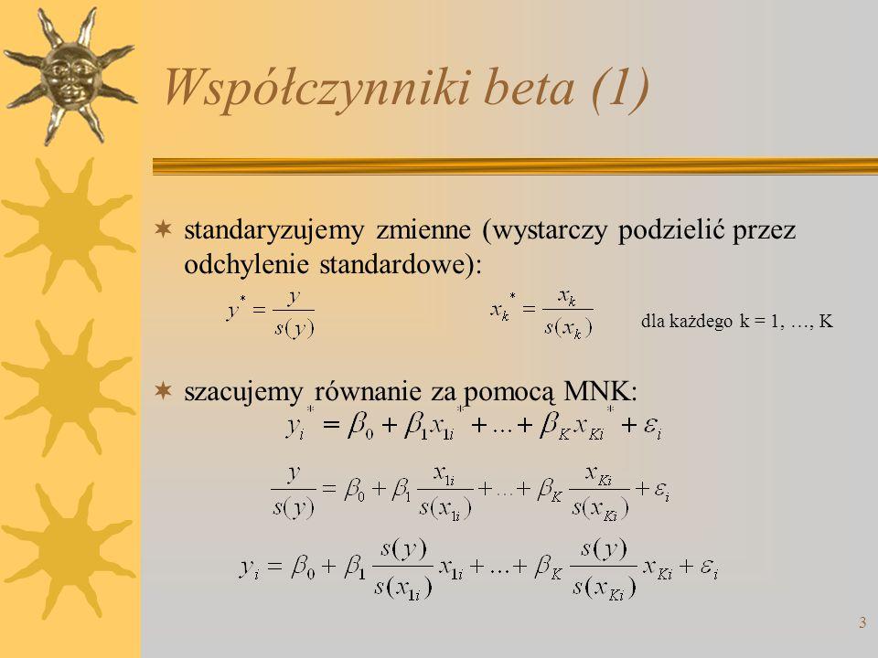 Współczynniki beta (1) standaryzujemy zmienne (wystarczy podzielić przez odchylenie standardowe): szacujemy równanie za pomocą MNK:
