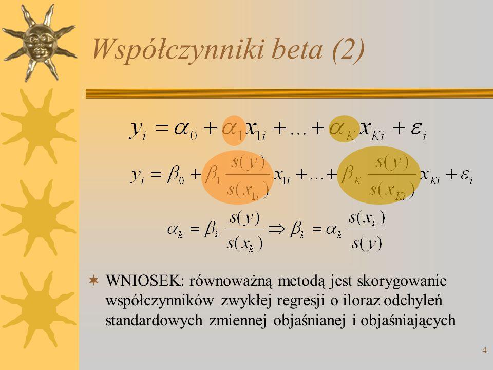 Współczynniki beta (2)