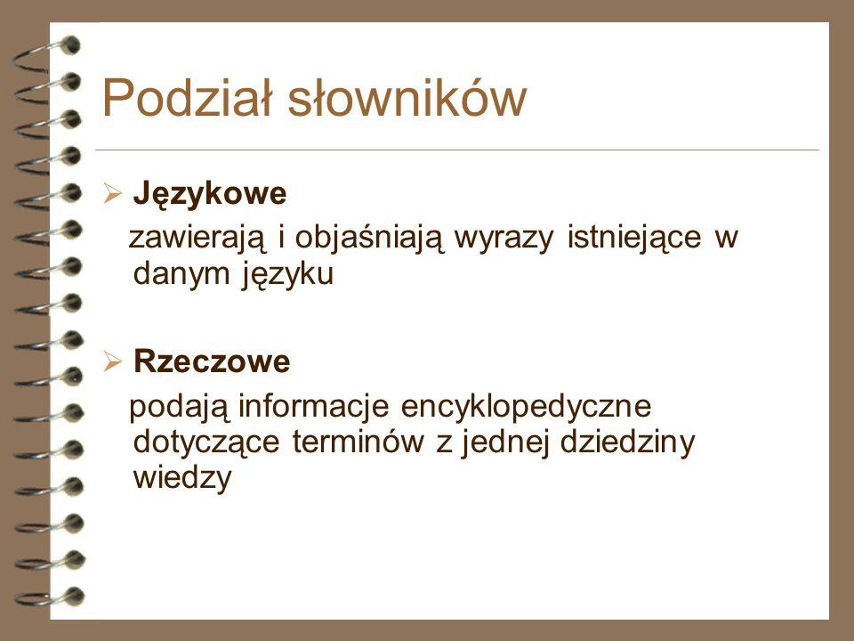 Podział słowników Językowe
