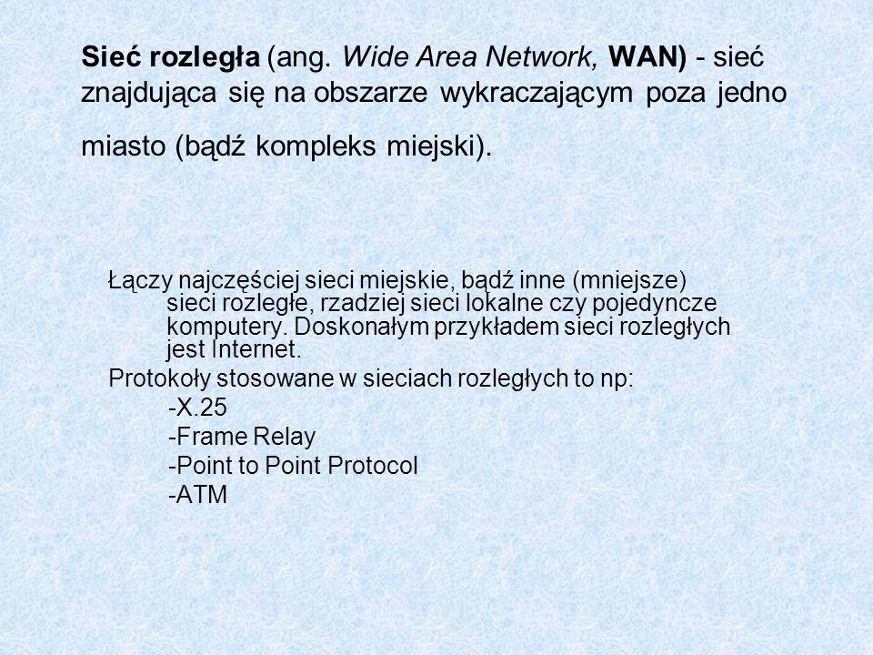 Sieć rozległa (ang. Wide Area Network, WAN) - sieć znajdująca się na obszarze wykraczającym poza jedno miasto (bądź kompleks miejski).