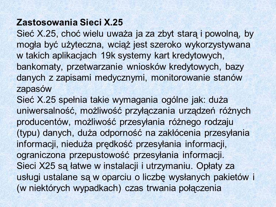Zastosowania Sieci X. 25 Sieć X