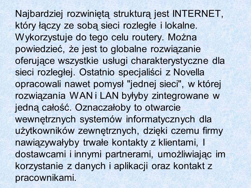 Najbardziej rozwiniętą strukturą jest INTERNET, który łączy ze sobą sieci rozległe i lokalne.