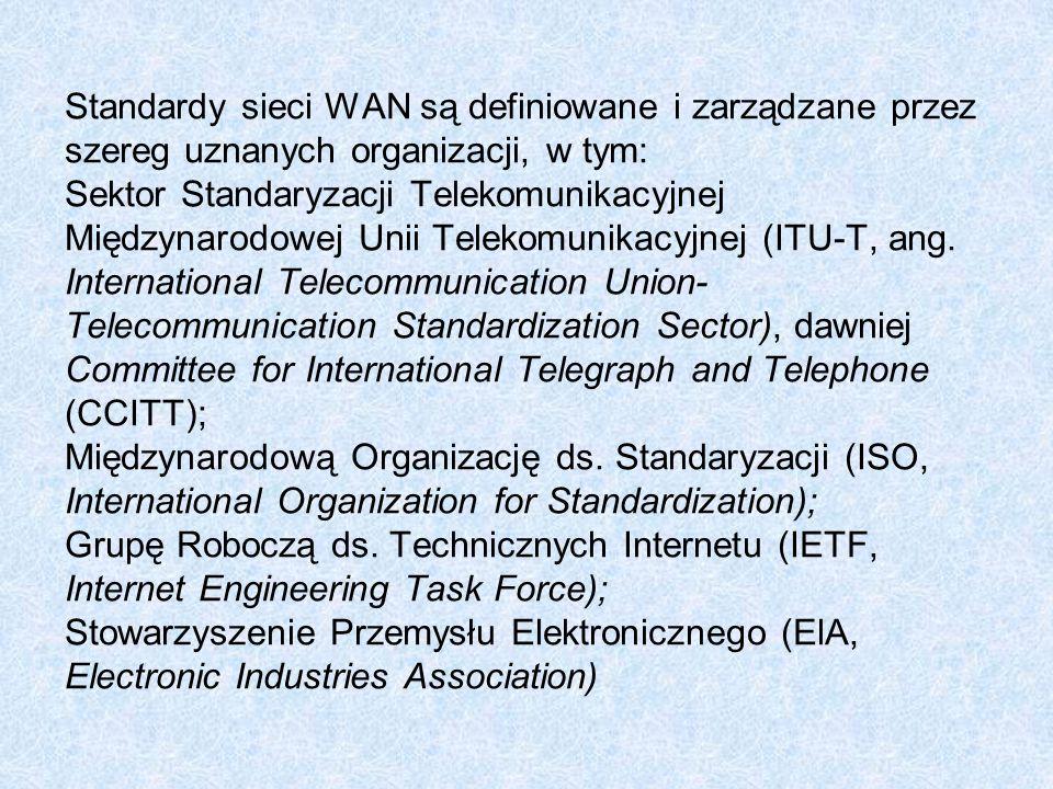 Standardy sieci WAN są definiowane i zarządzane przez szereg uznanych organizacji, w tym: Sektor Standaryzacji Telekomunikacyjnej Międzynarodowej Unii Telekomunikacyjnej (ITU-T, ang.