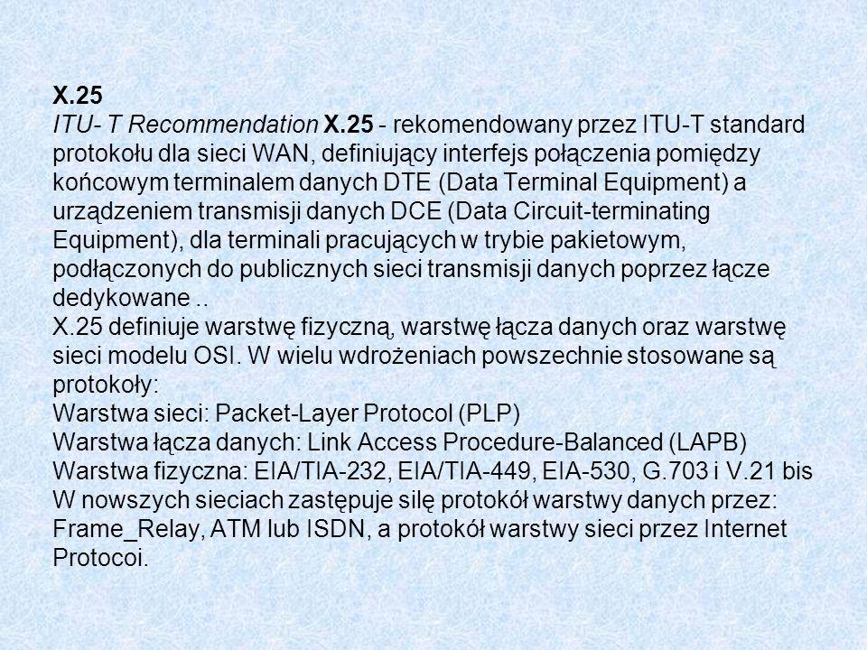 X. 25 ITU- T Recommendation X
