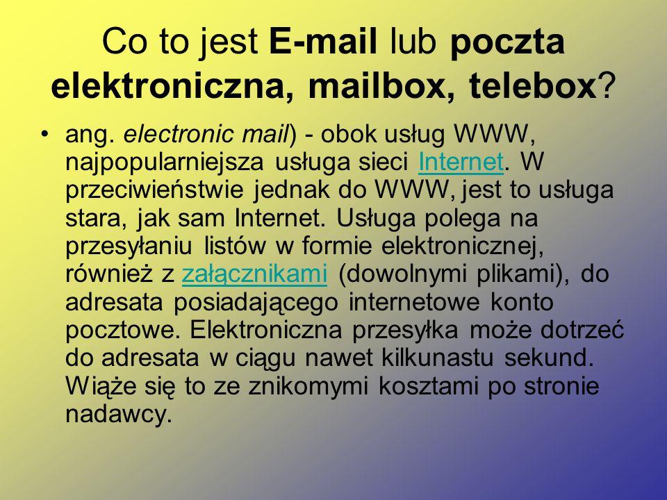 Co to jest E-mail lub poczta elektroniczna, mailbox, telebox