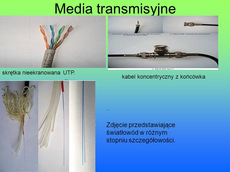 Media transmisyjne kabel koncentryczny z końcówka. skrętka nieekranowana UTP.