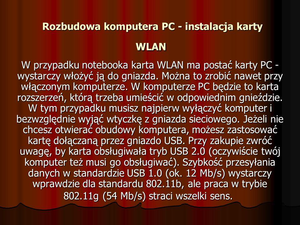 Rozbudowa komputera PC - instalacja karty WLAN