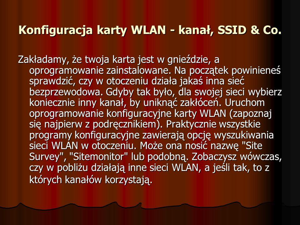Konfiguracja karty WLAN - kanał, SSID & Co.