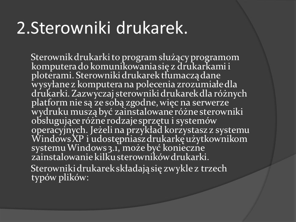2.Sterowniki drukarek.