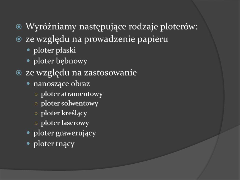 Wyróżniamy następujące rodzaje ploterów: