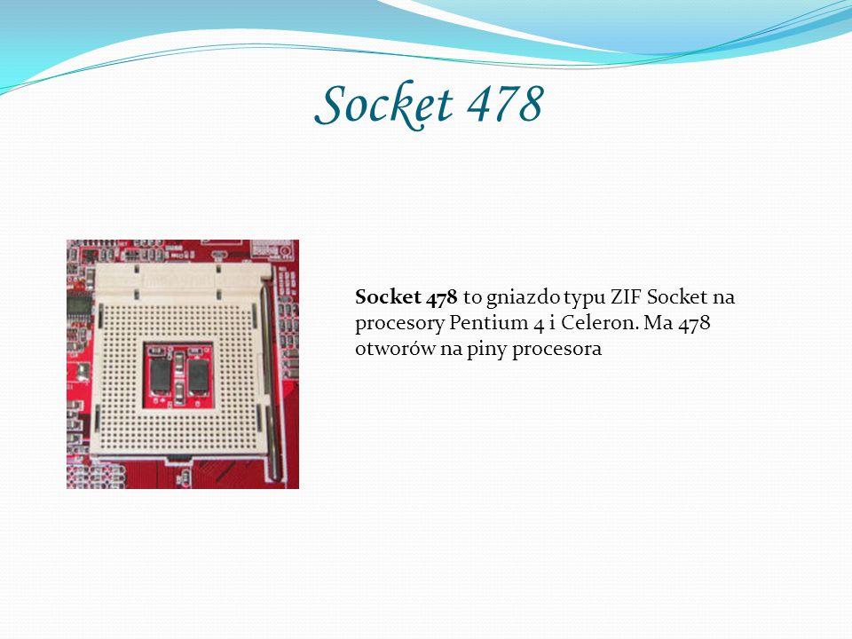 Socket 478 Socket 478 to gniazdo typu ZIF Socket na procesory Pentium 4 i Celeron.