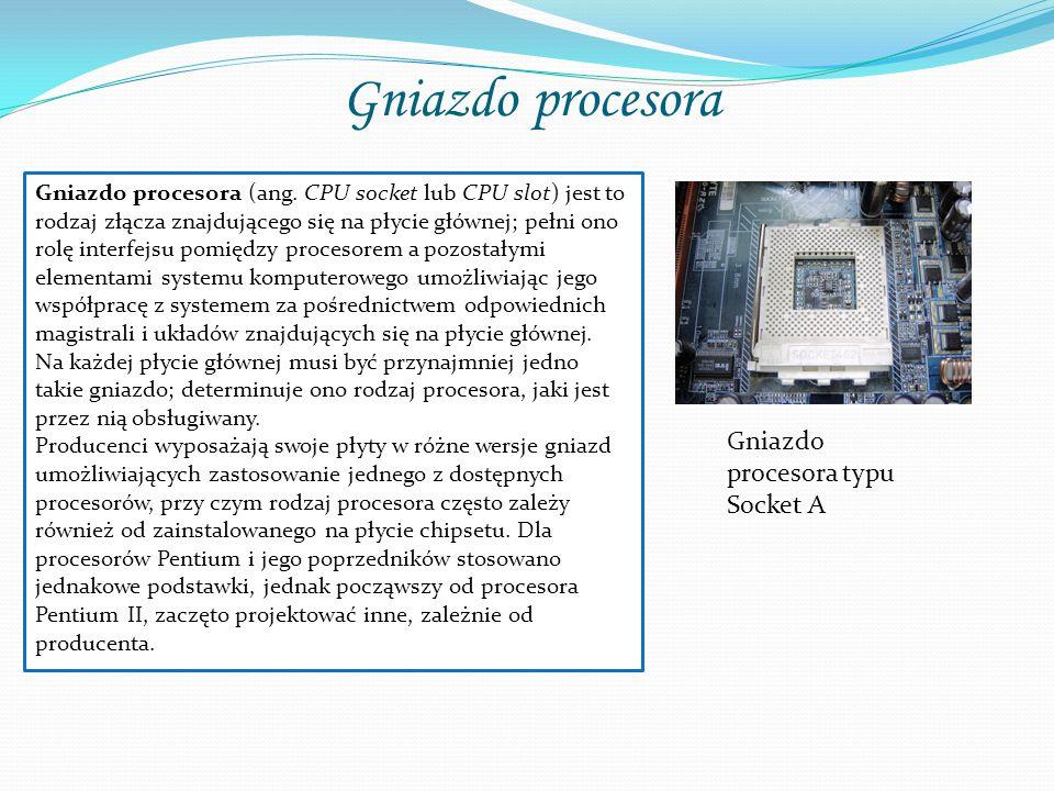 Gniazdo procesora Gniazdo procesora typu Socket A