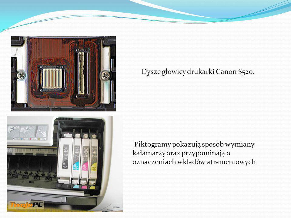 Dysze głowicy drukarki Canon S520.