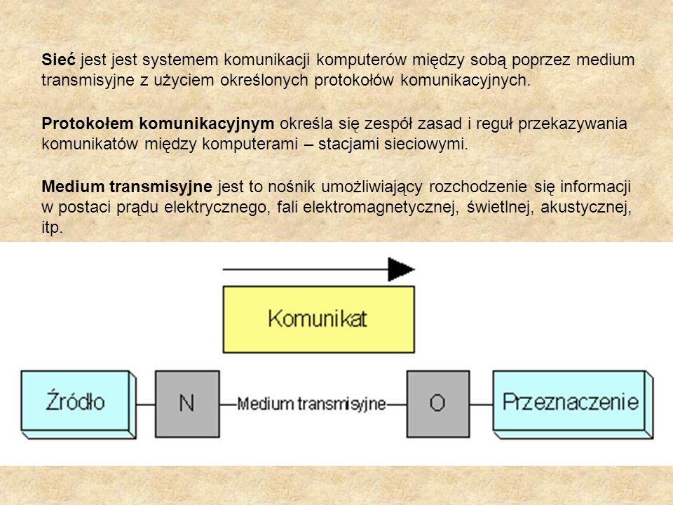Sieć jest jest systemem komunikacji komputerów między sobą poprzez medium transmisyjne z użyciem określonych protokołów komunikacyjnych.
