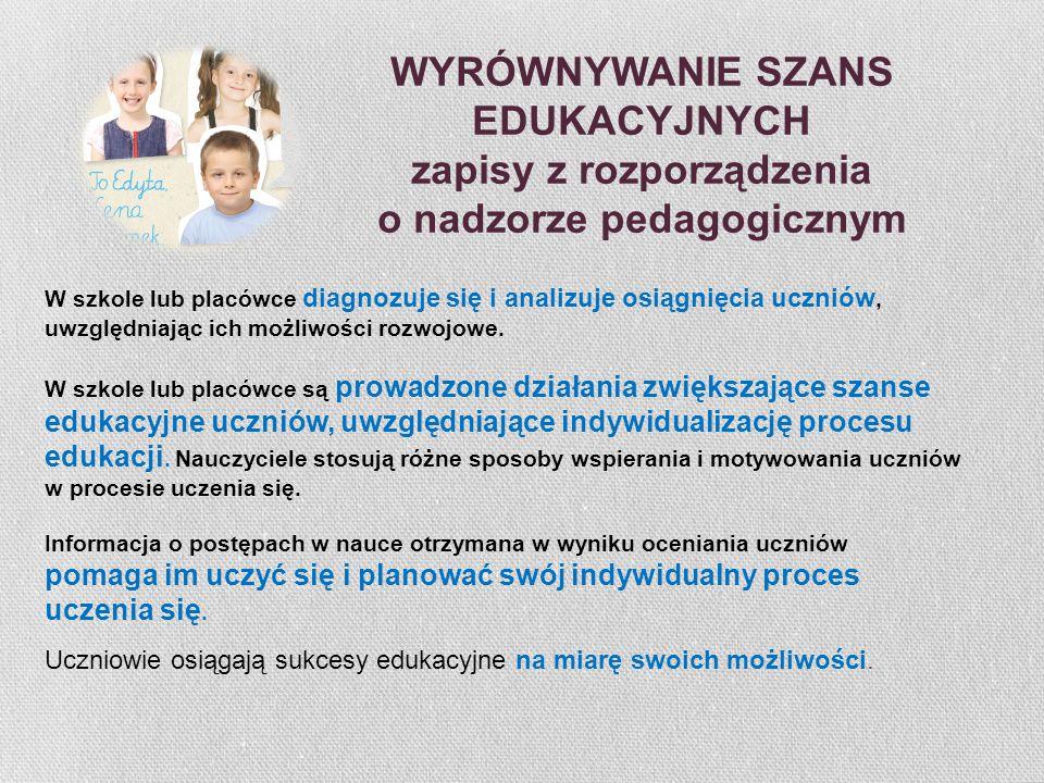 WYRÓWNYWANIE SZANS EDUKACYJNYCH zapisy z rozporządzenia o nadzorze pedagogicznym